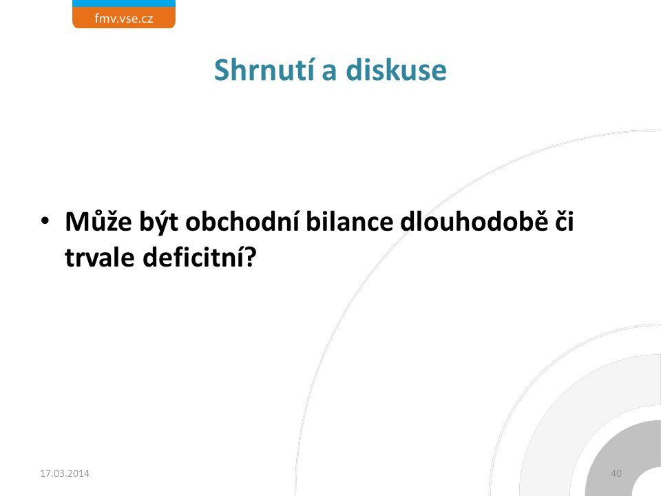 Shrnutí a diskuse Může být obchodní bilance dlouhodobě či trvale deficitní? 17.03.201440