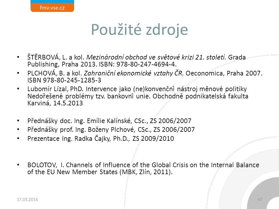 Použité zdroje ŠTĚRBOVÁ, L. a kol. Mezinárodní obchod ve světové krizi 21. století. Grada Publishing, Praha 2013. ISBN: 978-80-247-4694-4. PLCHOVÁ, B.