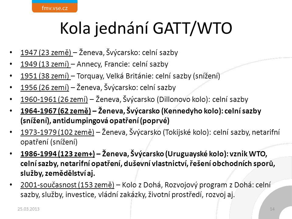 Kola jednání GATT/WTO 1947 (23 země) – Ženeva, Švýcarsko: celní sazby 1949 (13 zemí) – Annecy, Francie: celní sazby 1951 (38 zemí) – Torquay, Velká Br