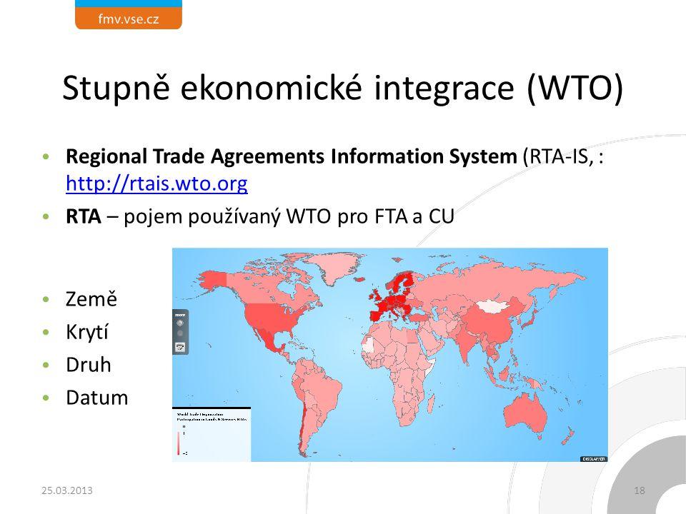 Stupně ekonomické integrace (WTO) Regional Trade Agreements Information System (RTA-IS, : http://rtais.wto.org http://rtais.wto.org RTA – pojem použív