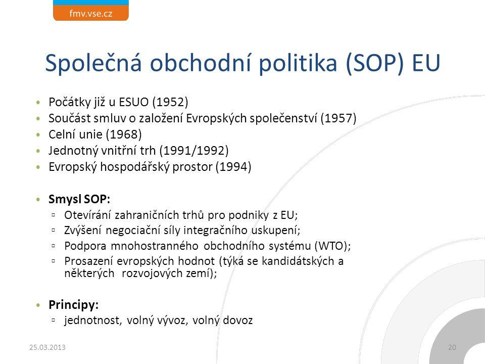 Společná obchodní politika (SOP) EU Počátky již u ESUO (1952) Součást smluv o založení Evropských společenství (1957) Celní unie (1968) Jednotný vnitř