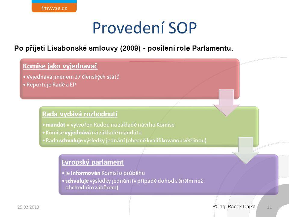 Provedení SOP 21 Komise jako vyjednavač Vyjednává jménem 27 členských států Reportuje Radě a EP Rada vydává rozhodnutí mandát = vytvořen Radou na zákl
