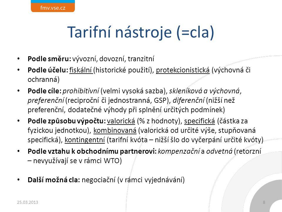 Tarifní nástroje (=cla) Podle směru: vývozní, dovozní, tranzitní Podle účelu: fiskální (historické použití), protekcionistická (výchovná či ochranná)