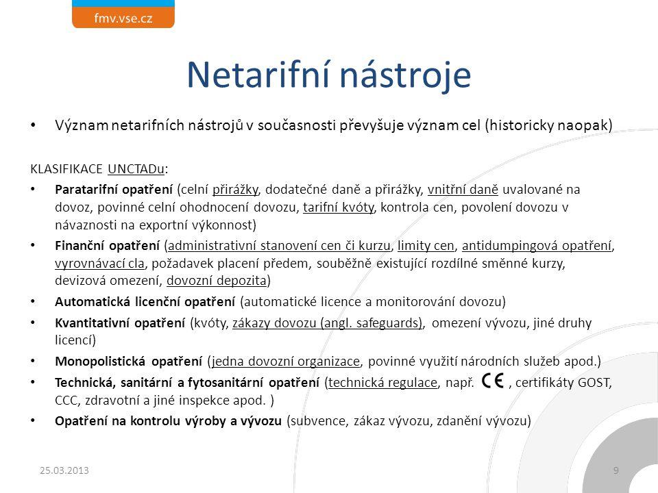Netarifní nástroje Význam netarifních nástrojů v současnosti převyšuje význam cel (historicky naopak) KLASIFIKACE UNCTADu: Paratarifní opatření (celní
