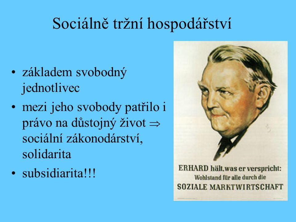 Sociálně tržní hospodářství základem svobodný jednotlivec mezi jeho svobody patřilo i právo na důstojný život  sociální zákonodárství, solidarita sub