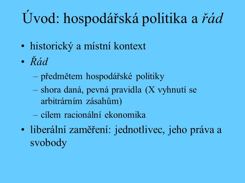 Úvod: hospodářská politika a řád historický a místní kontext Řád –předmětem hospodářské politiky –shora daná, pevná pravidla (X vyhnutí se arbitrárním