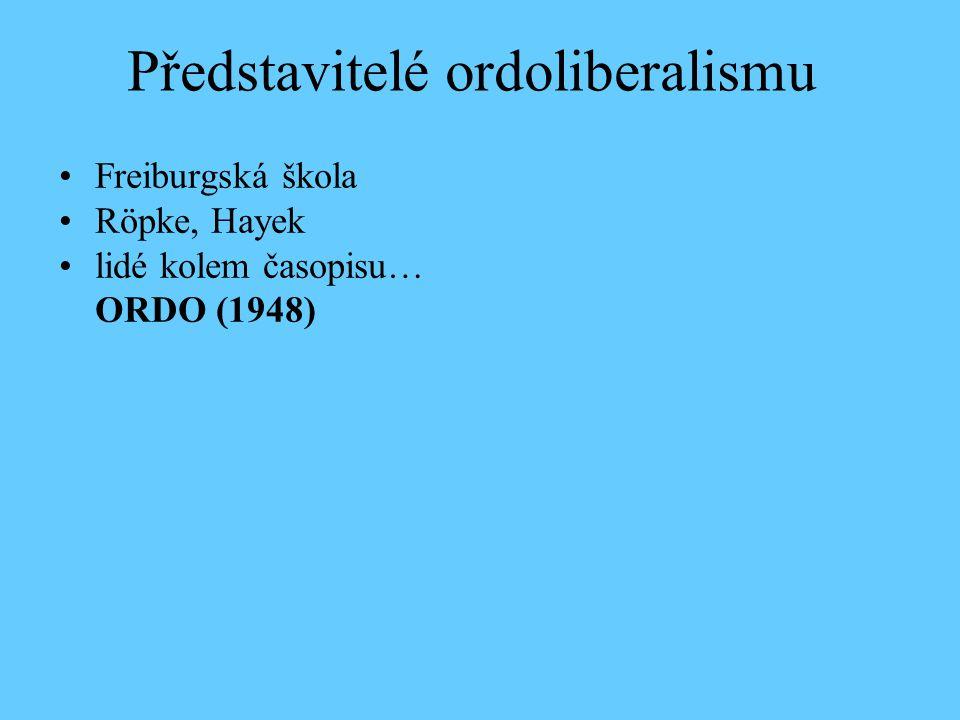 Představitelé ordoliberalismu Freiburgská škola Röpke, Hayek lidé kolem časopisu… ORDO (1948)