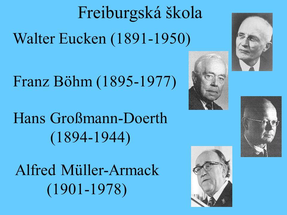 Walter Eucken (1891-1950) Freiburgská škola Franz Böhm (1895-1977) Hans Großmann-Doerth (1894-1944) Alfred Müller-Armack (1901-1978)