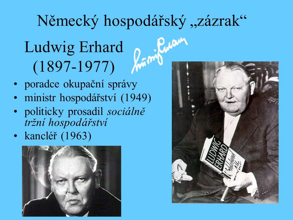 Ludwig Erhard (1897-1977) poradce okupační správy ministr hospodářství (1949) politicky prosadil sociálně tržní hospodářství kancléř (1963) Německý ho