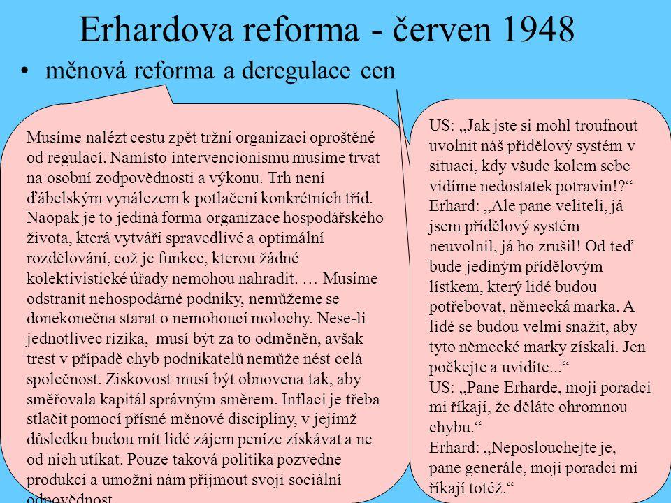 Erhardova reforma - červen 1948 měnová reforma a deregulace cen Musíme nalézt cestu zpět tržní organizaci oproštěné od regulací. Namísto intervencioni