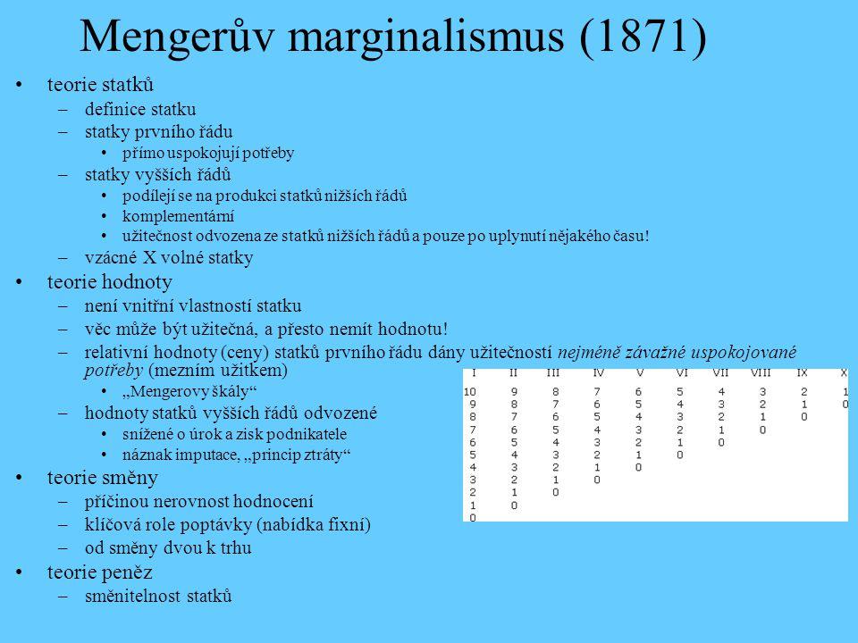 Mengerův marginalismus (1871) teorie statků –definice statku –statky prvního řádu přímo uspokojují potřeby –statky vyšších řádů podílejí se na produkc