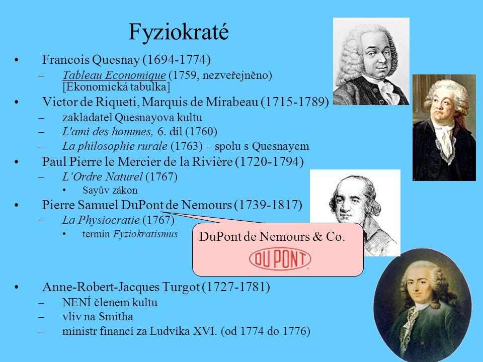 Francois Quesnay (1694-1774) –Tableau Economique (1759, nezveřejněno) [Ekonomická tabulka] Victor de Riqueti, Marquis de Mirabeau (1715-1789) –zakladatel Quesnayova kultu –L ami des hommes, 6.