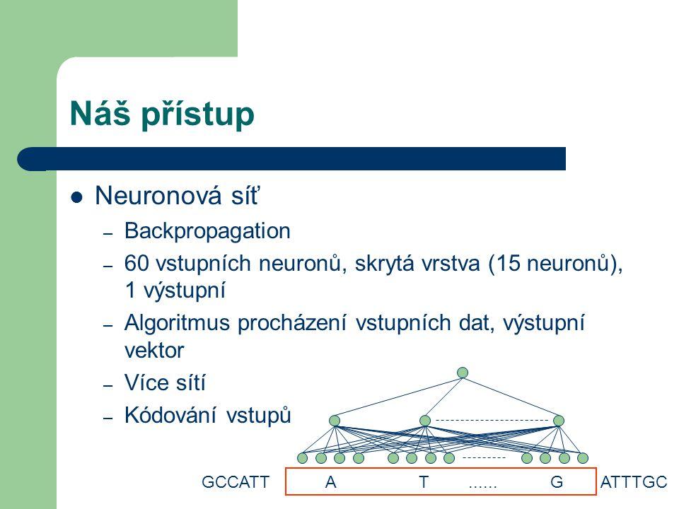 Náš přístup Neuronová síť – Backpropagation – 60 vstupních neuronů, skrytá vrstva (15 neuronů), 1 výstupní – Algoritmus procházení vstupních dat, výstupní vektor – Více sítí – Kódování vstupů GCCATT A T......