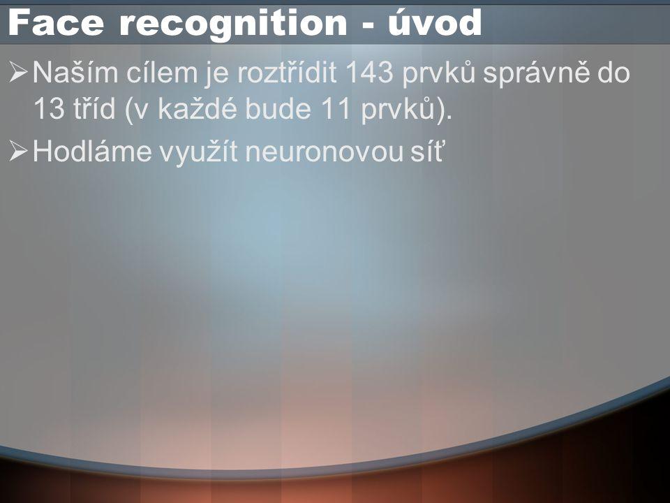 Face recognition - úvod  Naším cílem je roztřídit 143 prvků správně do 13 tříd (v každé bude 11 prvků).