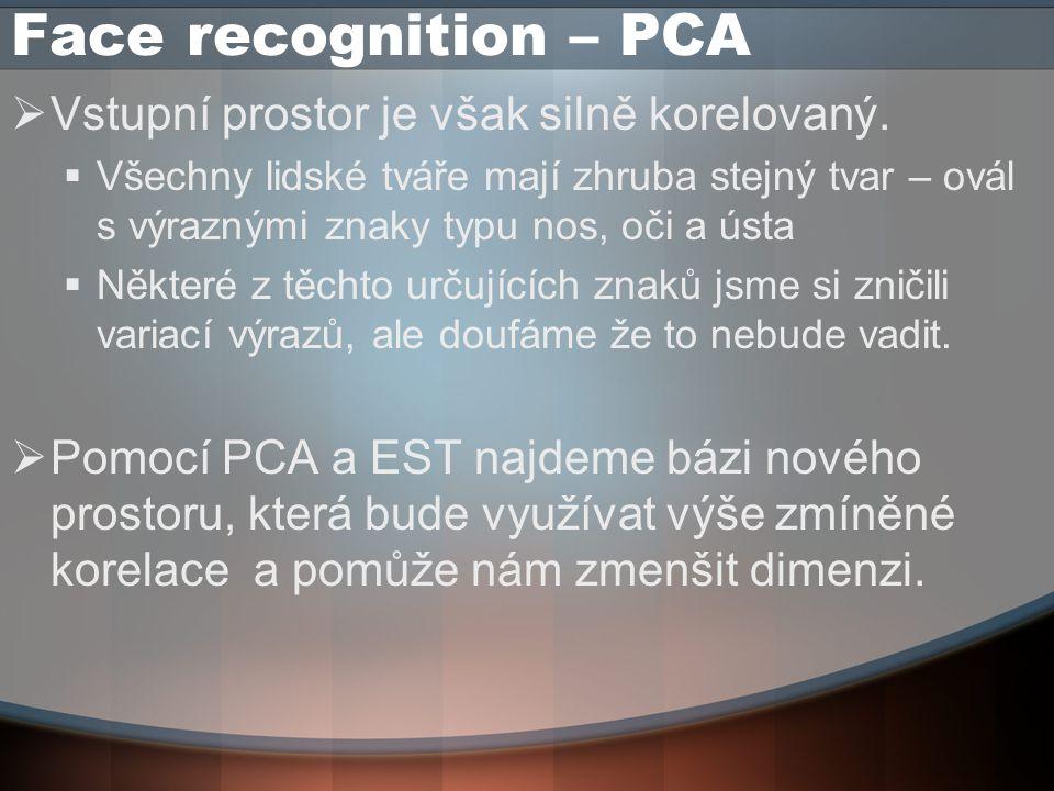 Face recognition – PCA  Vstupní prostor je však silně korelovaný.