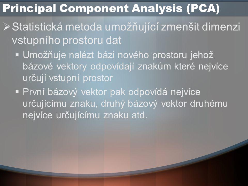 Principal Component Analysis (PCA)  Statistická metoda umožňující zmenšit dimenzi vstupního prostoru dat  Umožňuje nalézt bázi nového prostoru jehož bázové vektory odpovídají znakům které nejvíce určují vstupní prostor  První bázový vektor pak odpovídá nejvíce určujícímu znaku, druhý bázový vektor druhému nejvíce určujícímu znaku atd.