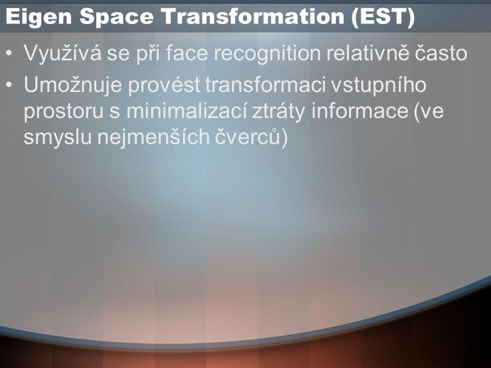 Eigen Space Transformation (EST) Využívá se při face recognition relativně často Umožnuje provést transformaci vstupního prostoru s minimalizací ztráty informace (ve smyslu nejmenších čverců)