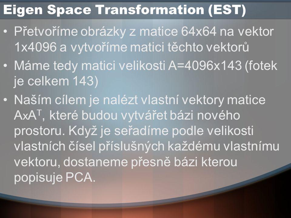 Eigen Space Transformation (EST) Přetvoříme obrázky z matice 64x64 na vektor 1x4096 a vytvoříme matici těchto vektorů Máme tedy matici velikosti A=4096x143 (fotek je celkem 143) Naším cílem je nalézt vlastní vektory matice A x A T, které budou vytvářet bázi nového prostoru.