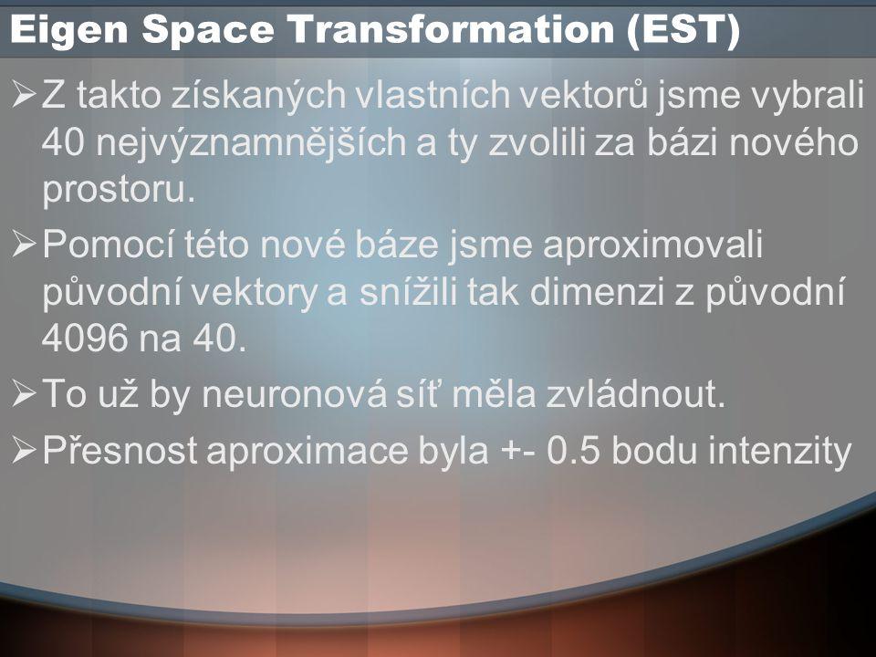 Eigen Space Transformation (EST)  Z takto získaných vlastních vektorů jsme vybrali 40 nejvýznamnějších a ty zvolili za bázi nového prostoru.