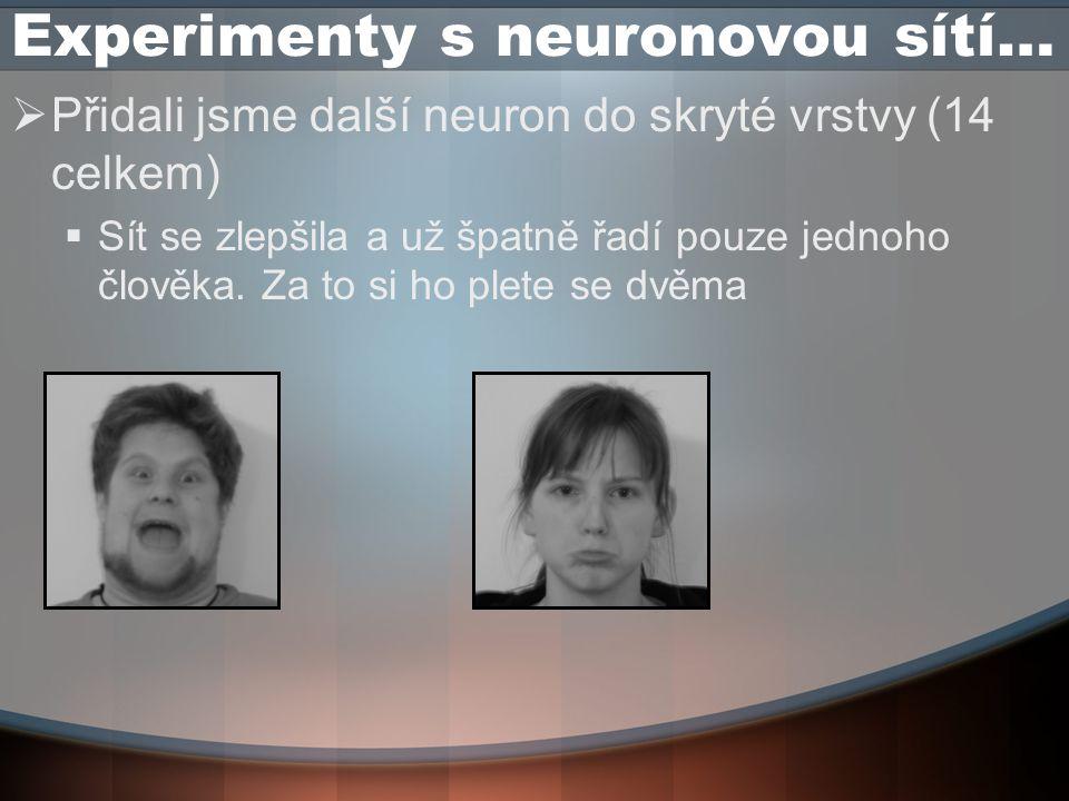 Experimenty s neuronovou sítí…  Přidali jsme další neuron do skryté vrstvy (14 celkem)  Sít se zlepšila a už špatně řadí pouze jednoho člověka.