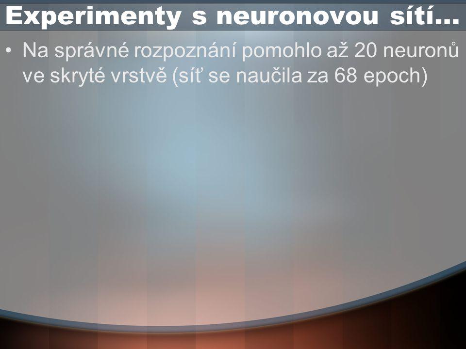 Experimenty s neuronovou sítí… Na správné rozpoznání pomohlo až 20 neuronů ve skryté vrstvě (síť se naučila za 68 epoch)