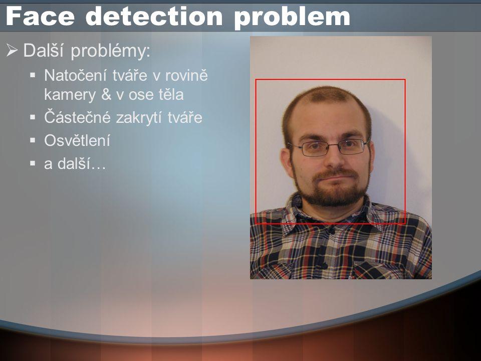 Face detection problem  Face detection proto v našem případě neřešíme  Vstupní data získáváme přímým focením  proti bílé zdi  za konstatního osvětlení  konstantního natočení tváře (čelem do kamery)  Přesto o nich nelze prohlásit že jsou ideální…