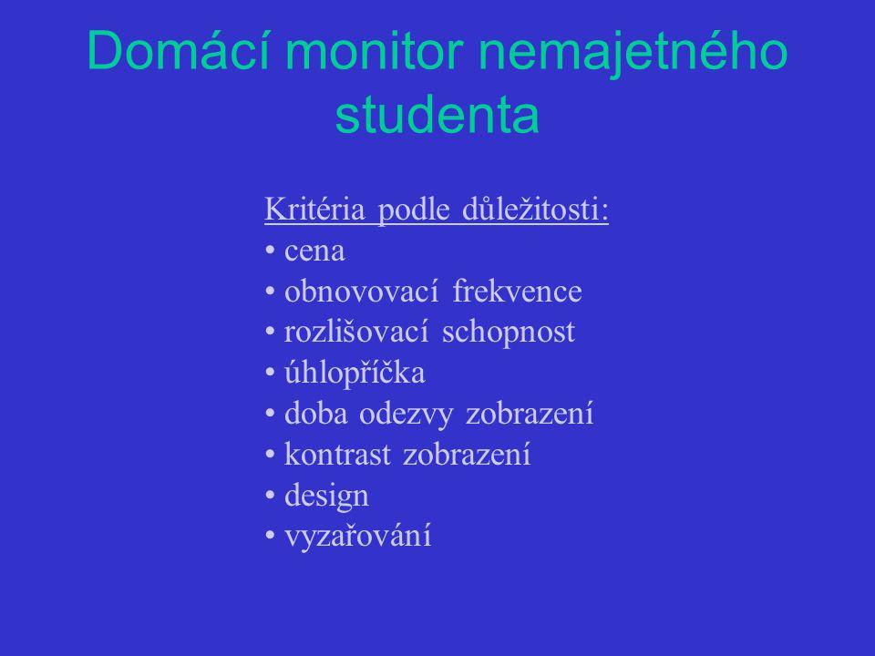Domácí monitor nemajetného studenta Kritéria podle důležitosti: cena obnovovací frekvence rozlišovací schopnost úhlopříčka doba odezvy zobrazení kontrast zobrazení design vyzařování