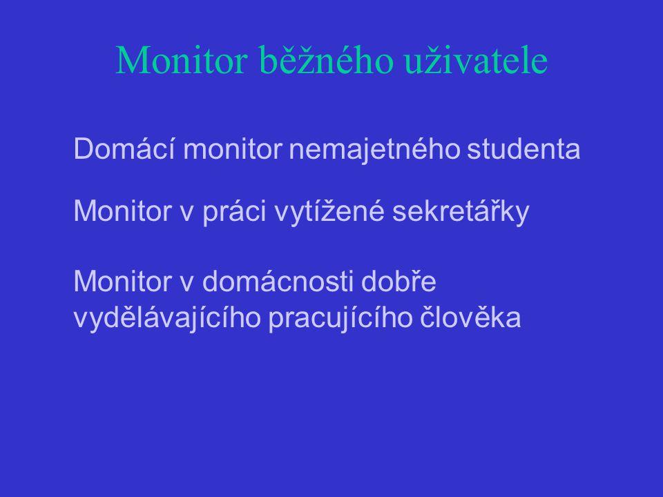 Monitor běžného uživatele Domácí monitor nemajetného studenta Monitor v práci vytížené sekretářky Monitor v domácnosti dobře vydělávajícího pracujícího člověka