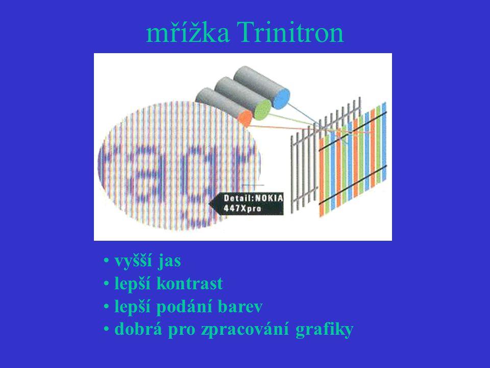mřížka Trinitron vyšší jas lepší kontrast lepší podání barev dobrá pro zpracování grafiky