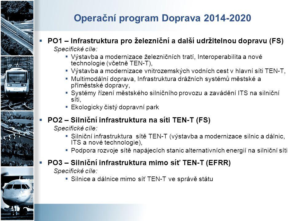 Operační program Doprava 2014-2020  PO1 – Infrastruktura pro železniční a další udržitelnou dopravu (FS) Specifické cíle:  Výstavba a modernizace že