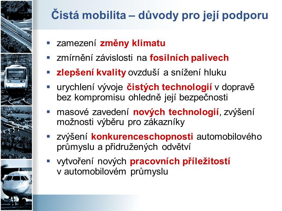 Čistá mobilita v základních strategických dokumentech ČR a EU  Dopravní politika 2014-2020  zvýšení podílu nízkoemisní nákladní dopravy  snižování závislost dopravy na energii na bázi fosilních paliv  Strategie Evropa 2020 (2010) - podpora nových technologií za účelem modernizace dopravy, snížení produkce uhlíku a zvýšení konkurenceschopnosti.