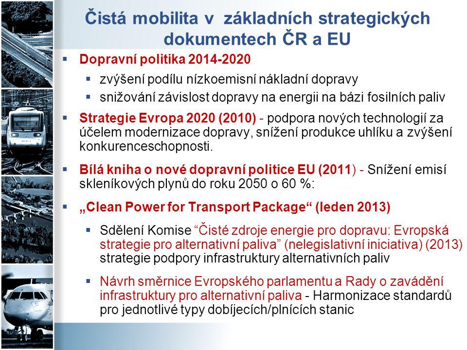 Čistá mobilita v základních strategických dokumentech ČR a EU  Dopravní politika 2014-2020  zvýšení podílu nízkoemisní nákladní dopravy  snižování
