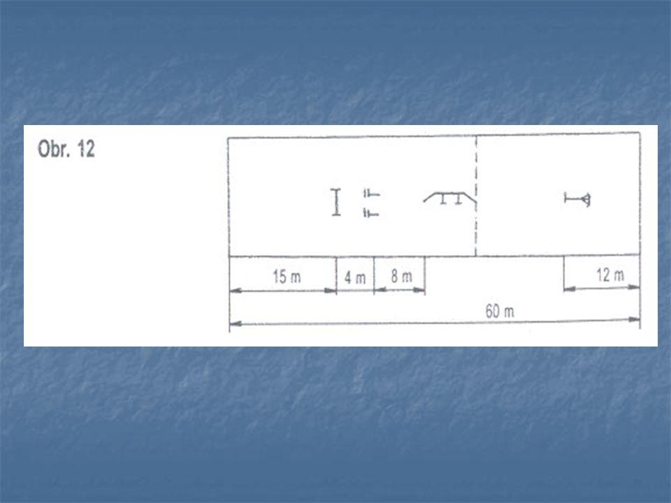 Provedení běhu na 60 m s překážkami Soutěžící vybavený proudnicí se připraví na startu.
