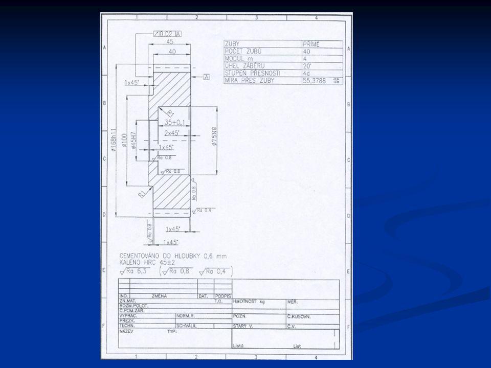 Operace 1.– Čelní ozubené kolo – vyrobeno z tyčového materiálu jakosti 12020.1, průměr 180 mm.