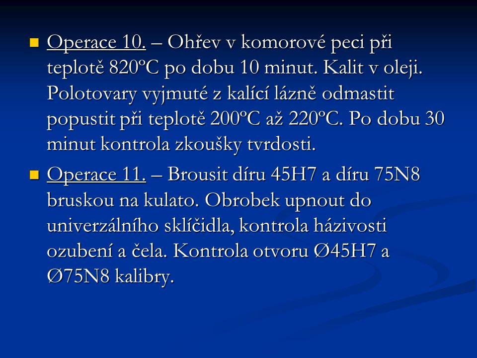Operace 10. – Ohřev v komorové peci při teplotě 820ºC po dobu 10 minut. Kalit v oleji. Polotovary vyjmuté z kalící lázně odmastit popustit při teplotě