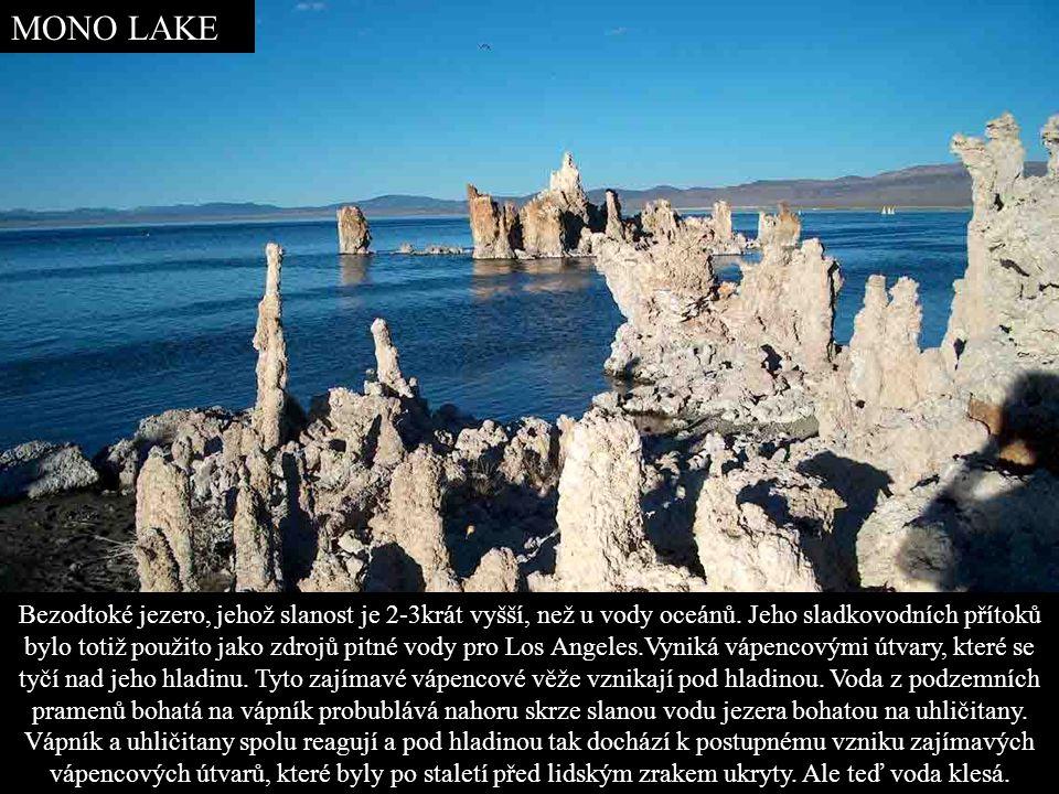 MONO LAKE Bezodtoké jezero, jehož slanost je 2-3krát vyšší, než u vody oceánů.