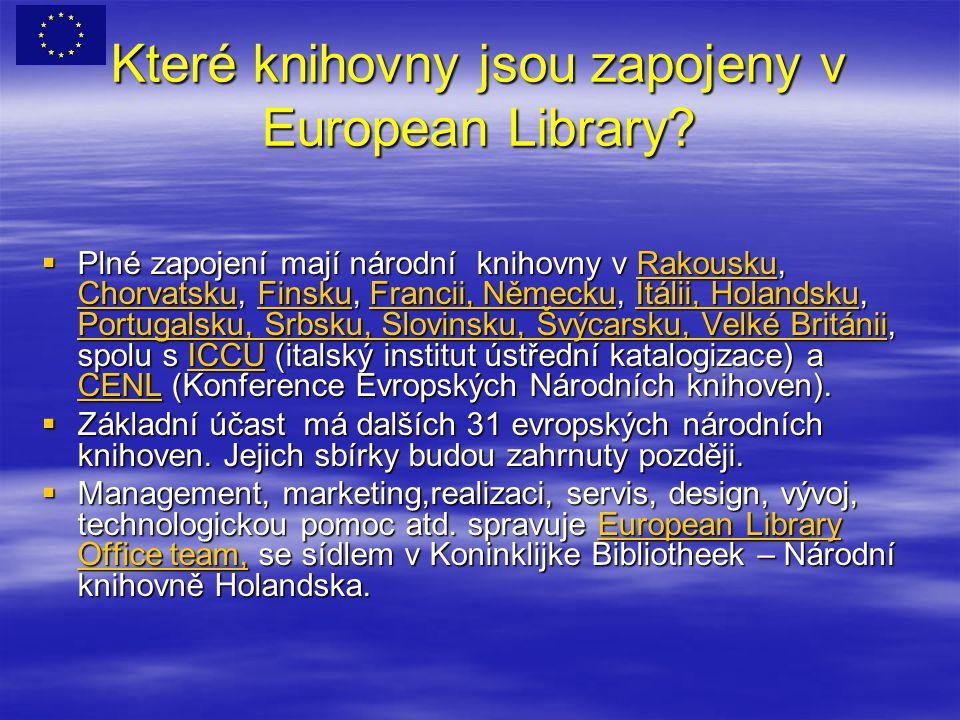 Které knihovny jsou zapojeny v European Library.