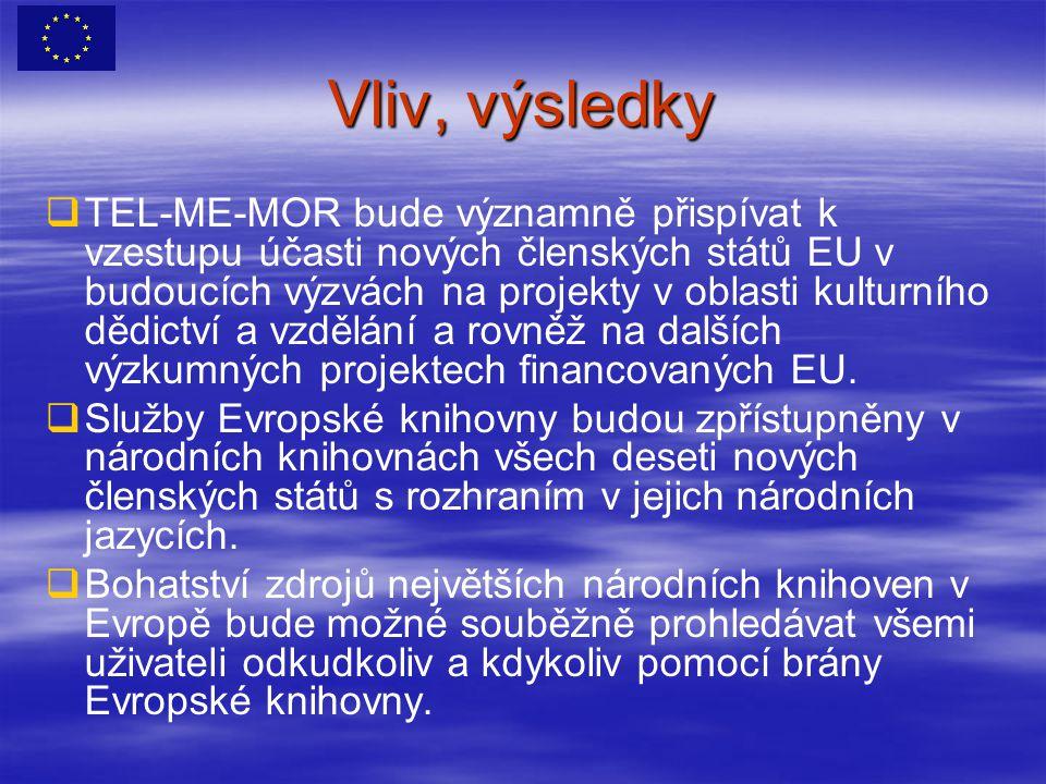 Vliv, výsledky   TEL-ME-MOR bude významně přispívat k vzestupu účasti nových členských států EU v budoucích výzvách na projekty v oblasti kulturního dědictví a vzdělání a rovněž na dalších výzkumných projektech financovaných EU.