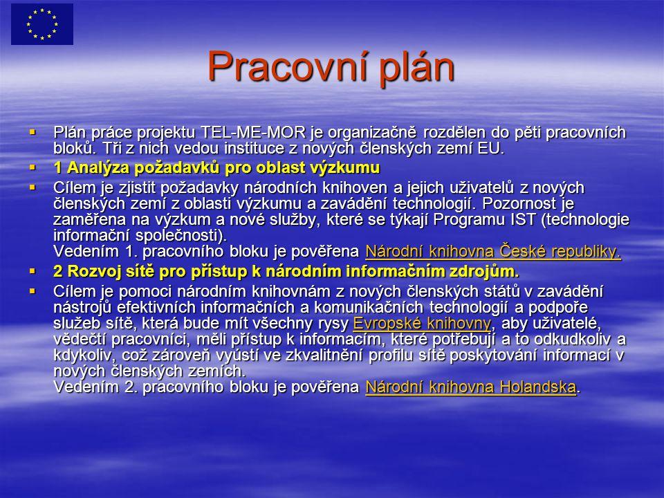 Pracovní plán  Plán práce projektu TEL-ME-MOR je organizačně rozdělen do pěti pracovních bloků.