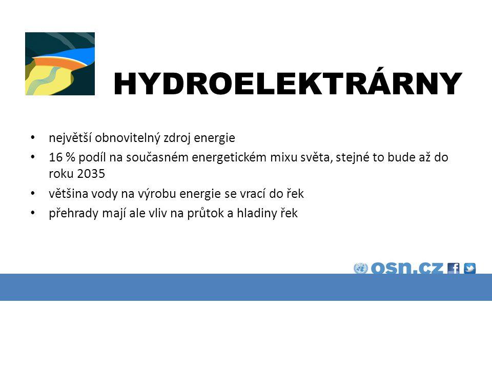 PRŮMYSL A VODA 75 % vody využívané k průmyslové výrobě je následně využíváno na výrobu energie