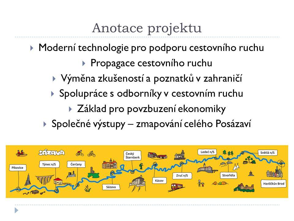 Anotace projektu  Moderní technologie pro podporu cestovního ruchu  Propagace cestovního ruchu  Výměna zkušeností a poznatků v zahraničí  Spolupráce s odborníky v cestovním ruchu  Základ pro povzbuzení ekonomiky  Společné výstupy – zmapování celého Posázaví