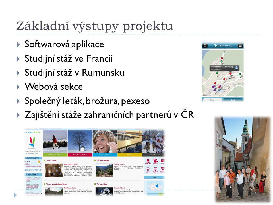 Základní výstupy projektu  Softwarová aplikace  Studijní stáž ve Francii  Studijní stáž v Rumunsku  Webová sekce  Společný leták, brožura, pexeso