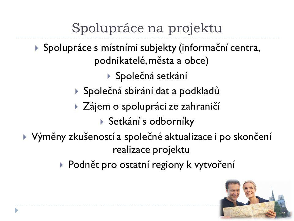 Spolupráce na projektu  Spolupráce s místními subjekty (informační centra, podnikatelé, města a obce)  Společná setkání  Společná sbírání dat a pod