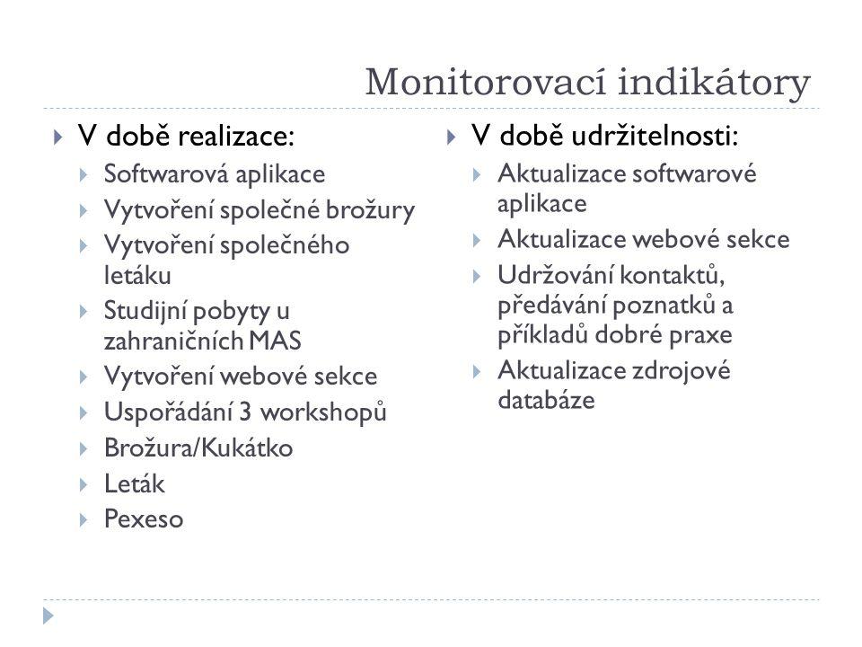 Monitorovací indikátory  V době realizace:  Softwarová aplikace  Vytvoření společné brožury  Vytvoření společného letáku  Studijní pobyty u zahra