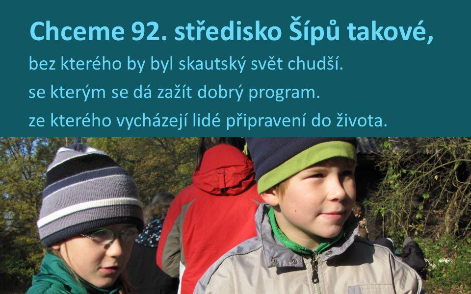 Chceme 92. středisko Šípů takové, bez kterého by byl skautský svět chudší. se kterým se dá zažít dobrý program. ze kterého vycházejí lidé připravení d