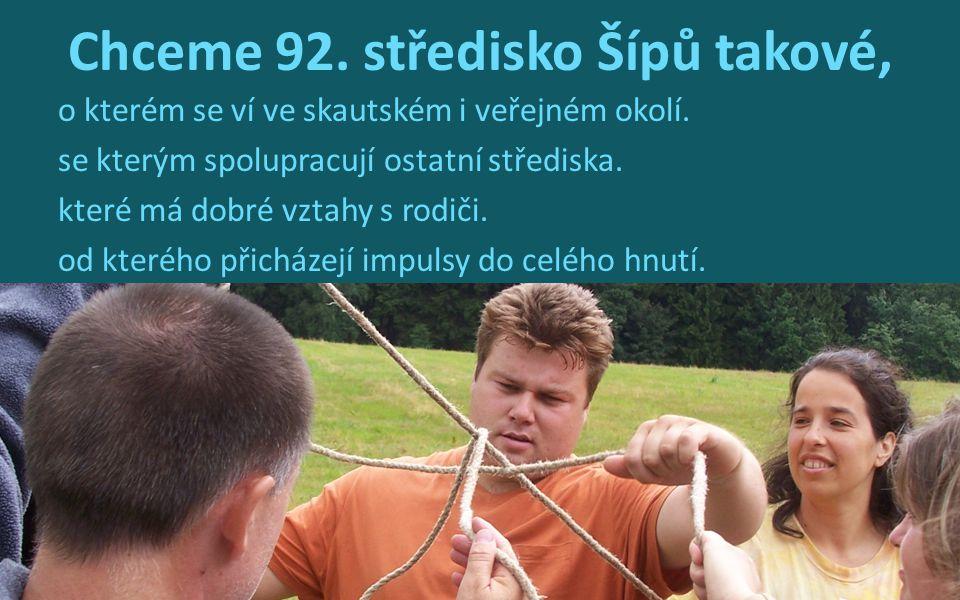 Chceme 92. středisko Šípů takové, o kterém se ví ve skautském i veřejném okolí. se kterým spolupracují ostatní střediska. které má dobré vztahy s rodi