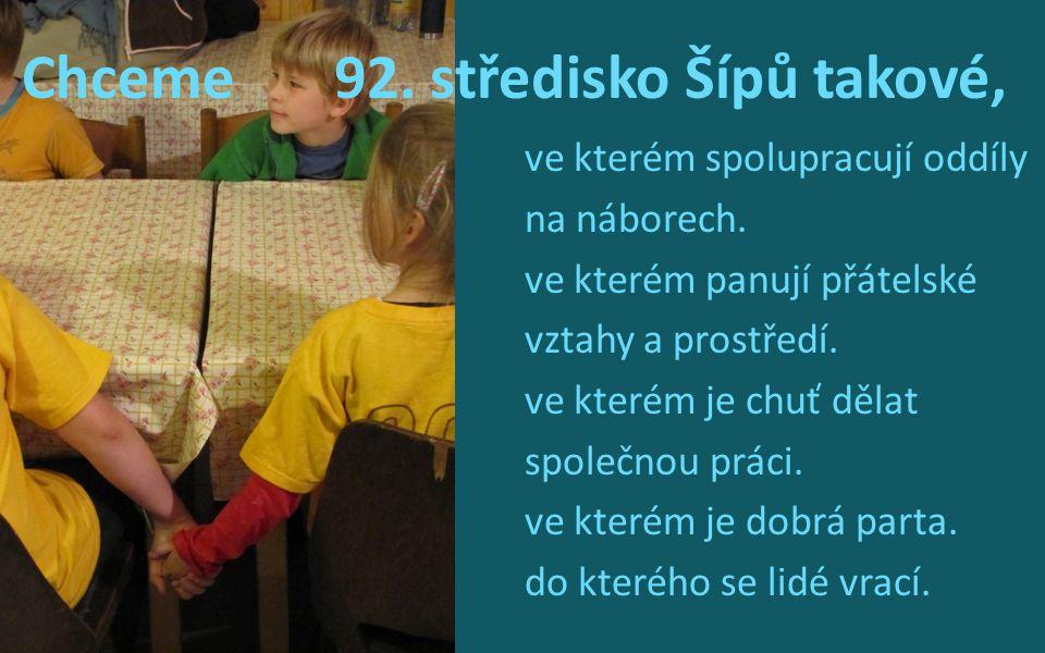 Chceme 92. středisko Šípů takové, ve kterém spolupracují oddíly na náborech. ve kterém panují přátelské vztahy a prostředí. ve kterém je chuť dělat sp