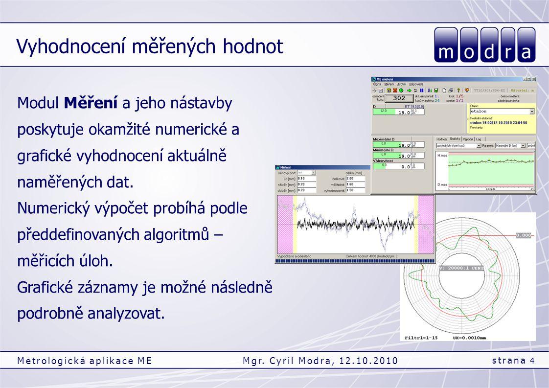 Vyhodnocení měřených hodnot strana 4 Metrologická aplikace MEMgr. Cyril Modra, 12.10.2010 Modul Měření a jeho nástavby poskytuje okamžité numerické a