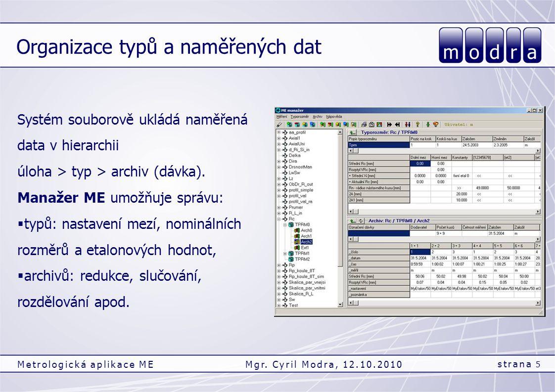 Organizace typů a naměřených dat strana 5 Metrologická aplikace MEMgr. Cyril Modra, 12.10.2010 Systém souborově ukládá naměřená data v hierarchii úloh