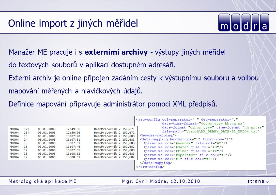 Online import z jiných měřidel strana 6 Metrologická aplikace MEMgr. Cyril Modra, 12.10.2010 Manažer ME pracuje i s externími archivy - výstupy jiných
